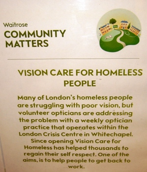 Waitrose Vision Care for Homeless People