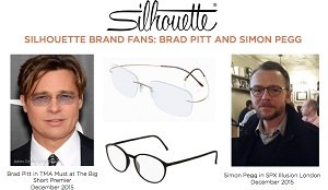 Simon Pegg wears Silhouette and Brad Pitt wear Silhoette