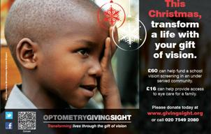 Optometry Giving Sight Xmas advert